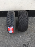 Standard 185/70 tyre compared with OFF ROAD Tyre Option (on right)