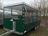 Trailer with curtains from the front